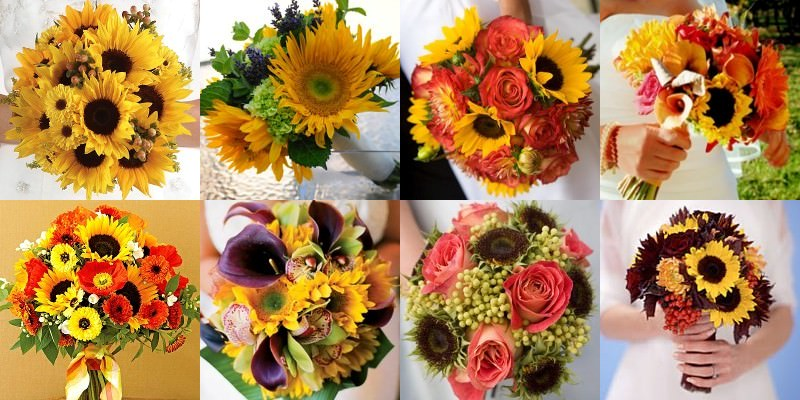 sunflower bouquets for weddings. sunflower wedding centerpieces